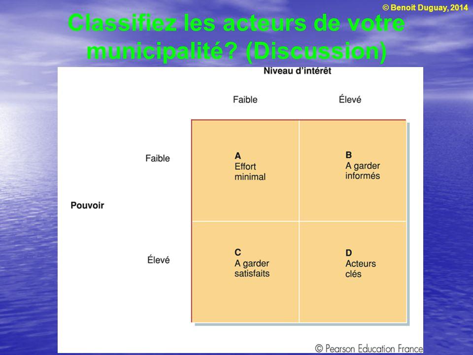 Classifiez les acteurs de votre municipalité (Discussion)