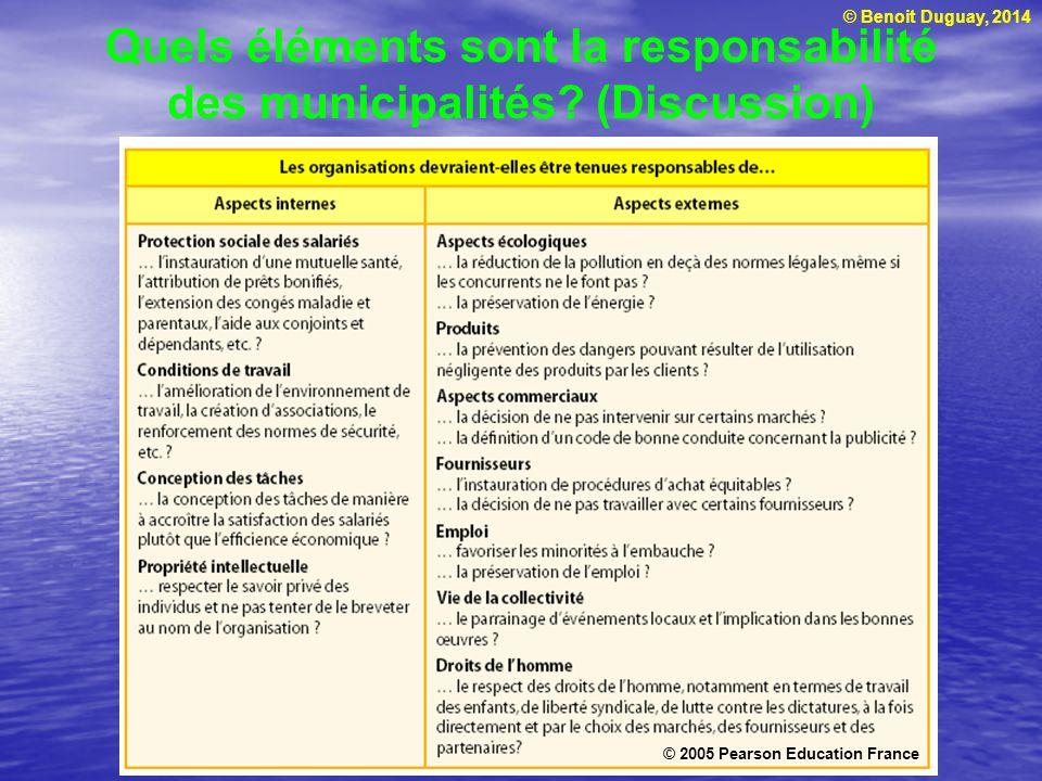 Quels éléments sont la responsabilité des municipalités (Discussion)