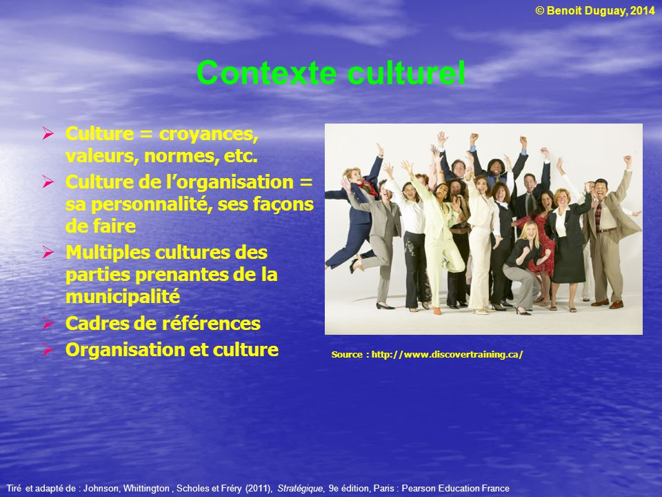 Contexte culturel Culture = croyances, valeurs, normes, etc.