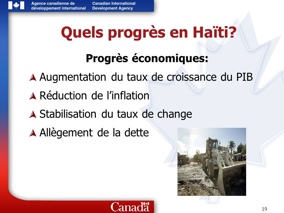 Quels progrès en Haïti Progrès économiques: