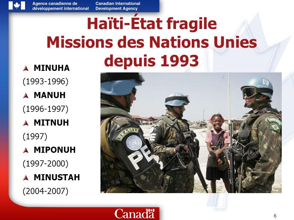 Haïti-État fragile Missions des Nations Unies depuis 1993