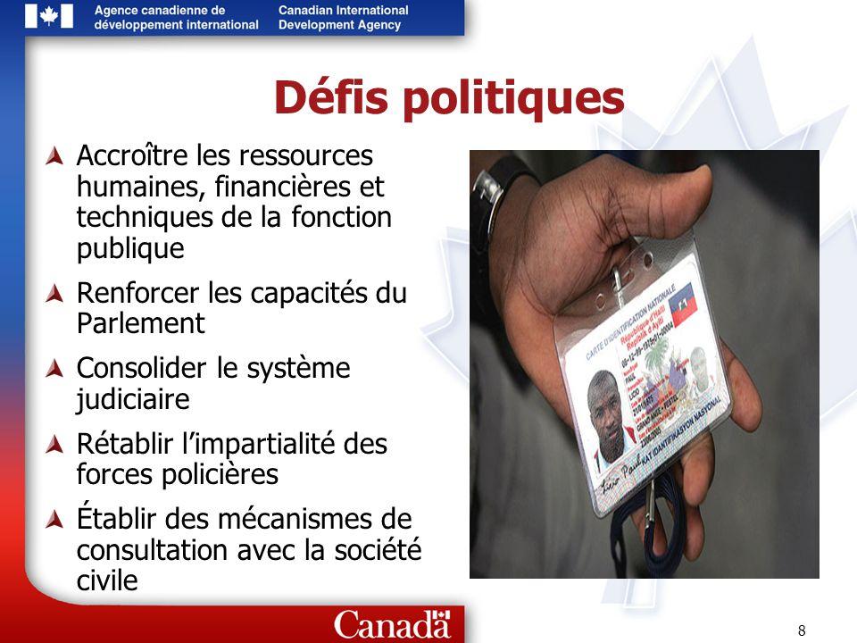 Défis politiques Accroître les ressources humaines, financières et techniques de la fonction publique.