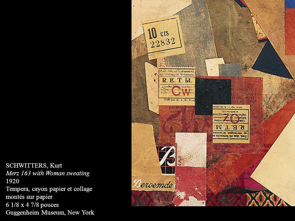 SCHWITTERS, Kurt Merz 163 with Woman sweating. 1920. Tempera, cayon papier et collage. montés sur papier.