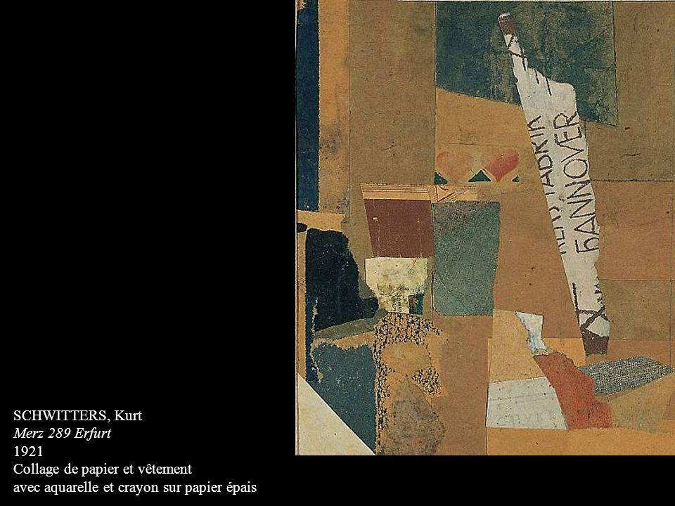 SCHWITTERS, Kurt Merz 289 Erfurt. 1921. Collage de papier et vêtement.