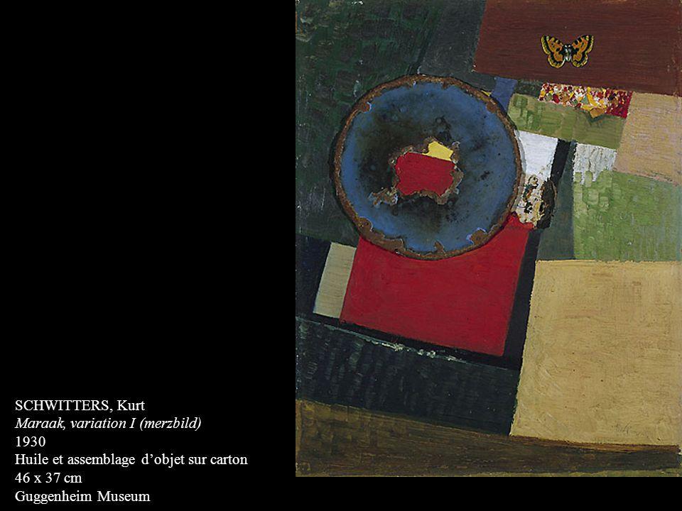 SCHWITTERS, Kurt Maraak, variation I (merzbild) 1930. Huile et assemblage d'objet sur carton. 46 x 37 cm.