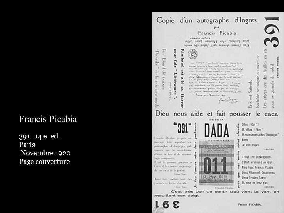 Francis Picabia 14 e ed. Paris Novembre 1920 Page couverture