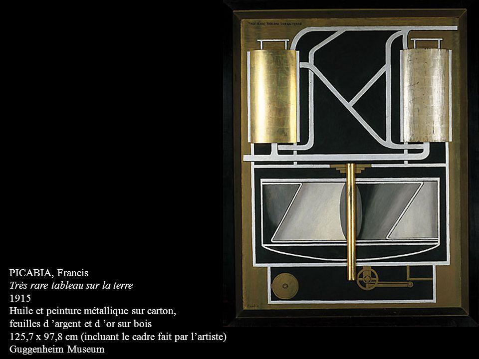 PICABIA, Francis Très rare tableau sur la terre. 1915. Huile et peinture métallique sur carton, feuilles d 'argent et d 'or sur bois.