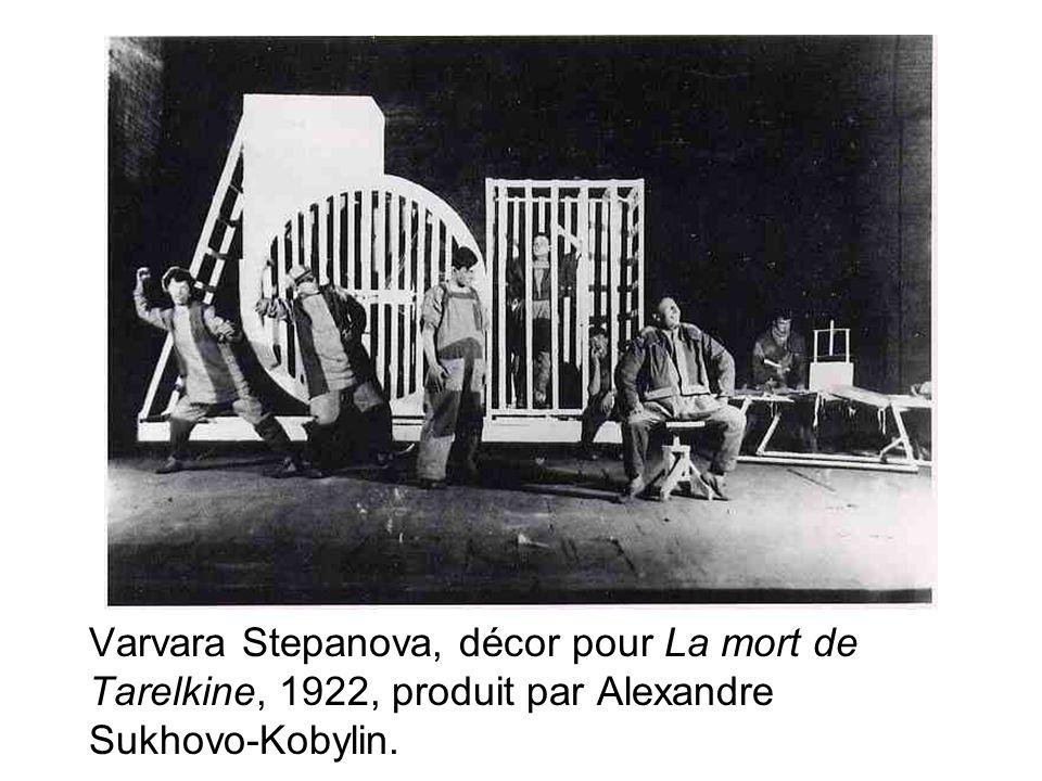 Varvara Stepanova, décor pour La mort de Tarelkine, 1922, produit par Alexandre Sukhovo-Kobylin.