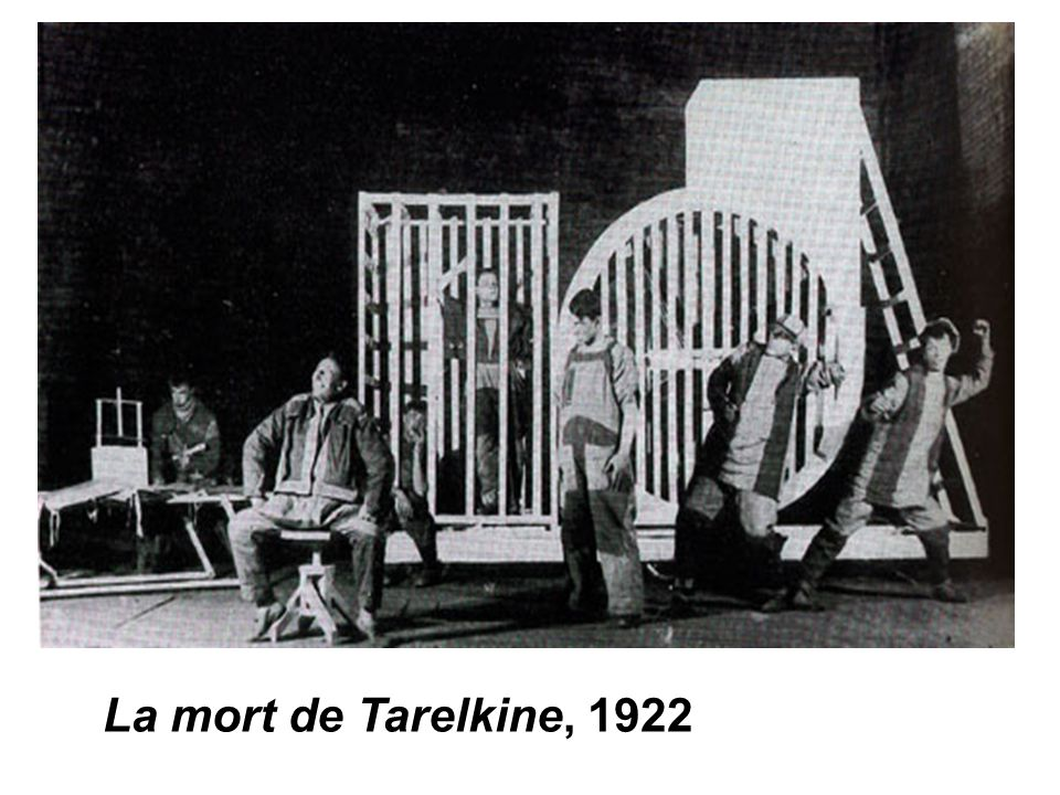 For Meyerhold s 1922 production of The Death of Tarelkin , he engaged the constructivist artist and designer Varvara Stepanova. As opposed to the single machine that had dominated the stage in Popova s design for The Magnificent Cuckold (performed earlier in the same year, see illustrations #64, 65), Stepanova created a series of discrete apparatuses that could be combined to make larger constructions or used separately. The apparatuses could be and were manipulated in a variety of ways by Meyerhold s skilled actors. The production as a whole fit in well with Meyerhold s desire at this time to bring circus and acrobatic element into the serious theater.