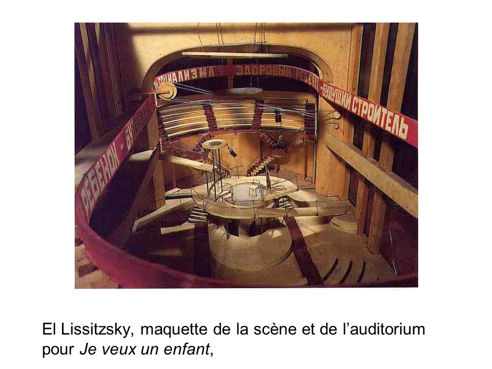 El Lissitzsky, maquette de la scène et de l'auditorium pour Je veux un enfant,