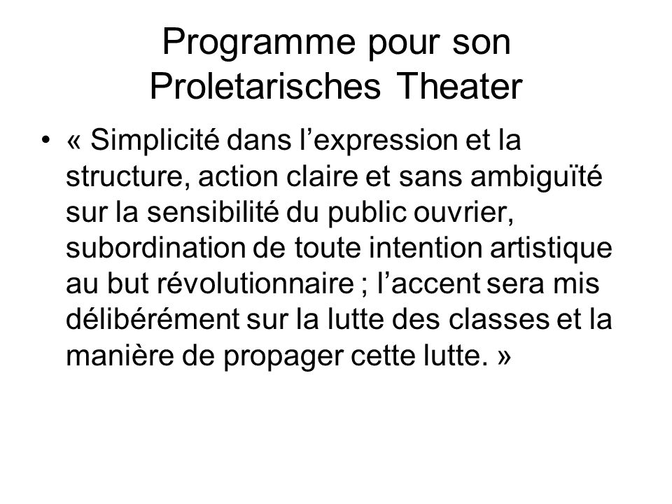 Programme pour son Proletarisches Theater