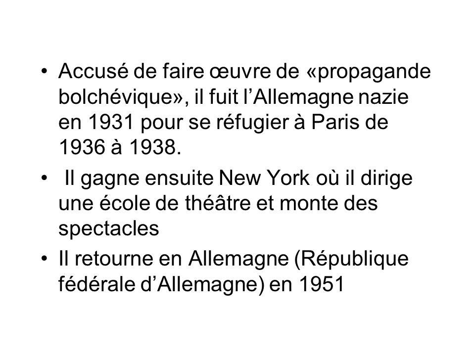 Accusé de faire œuvre de «propagande bolchévique», il fuit l'Allemagne nazie en 1931 pour se réfugier à Paris de 1936 à 1938.
