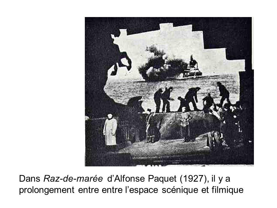 Dans Raz-de-marée d'Alfonse Paquet (1927), il y a prolongement entre entre l'espace scénique et filmique