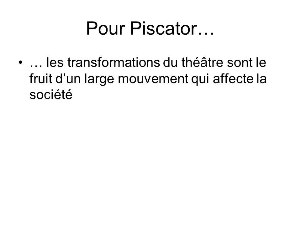 Pour Piscator… … les transformations du théâtre sont le fruit d'un large mouvement qui affecte la société.