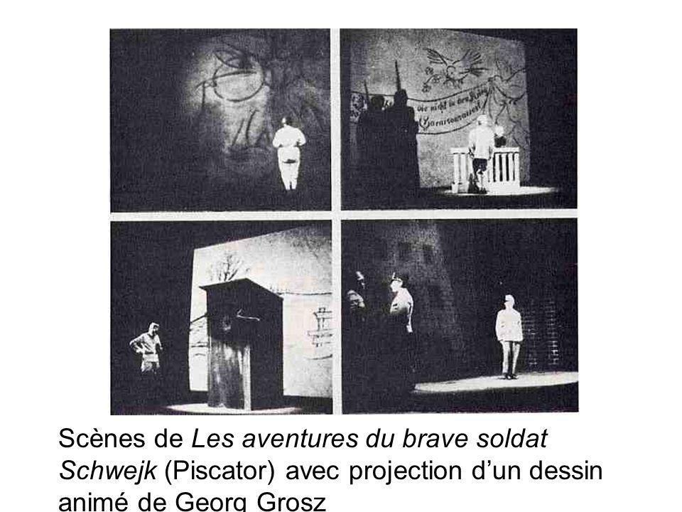 Scènes de Les aventures du brave soldat Schwejk (Piscator) avec projection d'un dessin animé de Georg Grosz