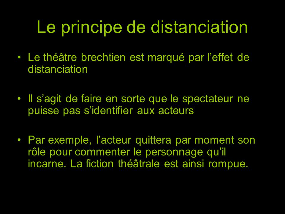 Le principe de distanciation