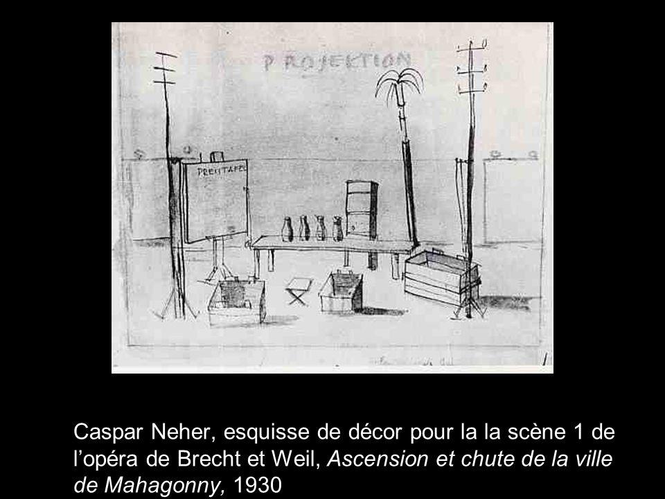 Caspar Neher, esquisse de décor pour la la scène 1 de l'opéra de Brecht et Weil, Ascension et chute de la ville de Mahagonny, 1930