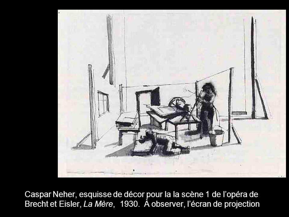 Caspar Neher, esquisse de décor pour la la scène 1 de l'opéra de Brecht et Eisler, La Mère, 1930.