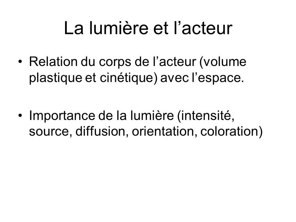La lumière et l'acteur Relation du corps de l'acteur (volume plastique et cinétique) avec l'espace.