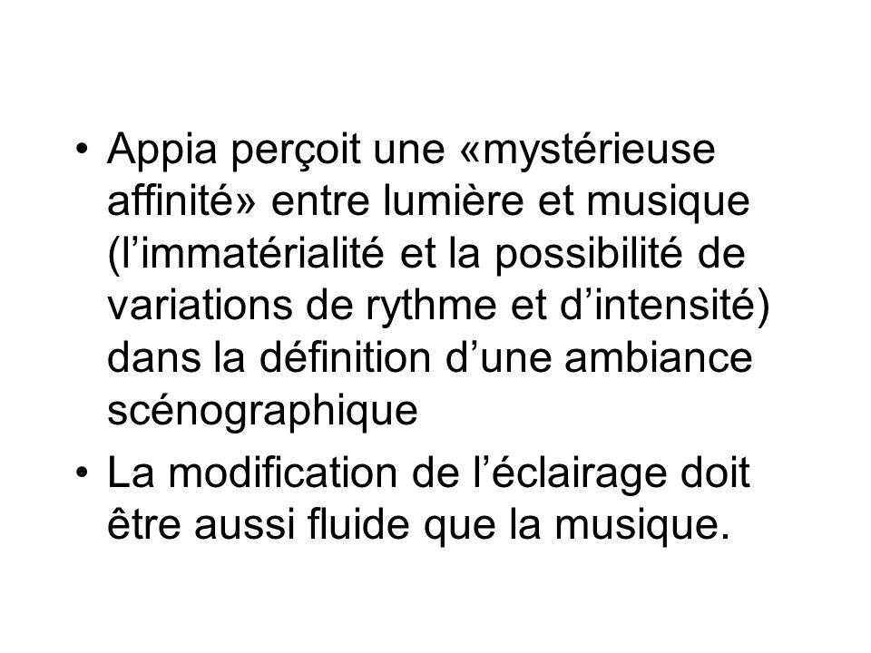 Appia perçoit une «mystérieuse affinité» entre lumière et musique (l'immatérialité et la possibilité de variations de rythme et d'intensité) dans la définition d'une ambiance scénographique