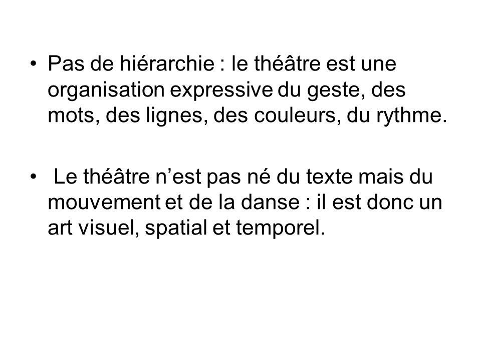 Pas de hiérarchie : le théâtre est une organisation expressive du geste, des mots, des lignes, des couleurs, du rythme.