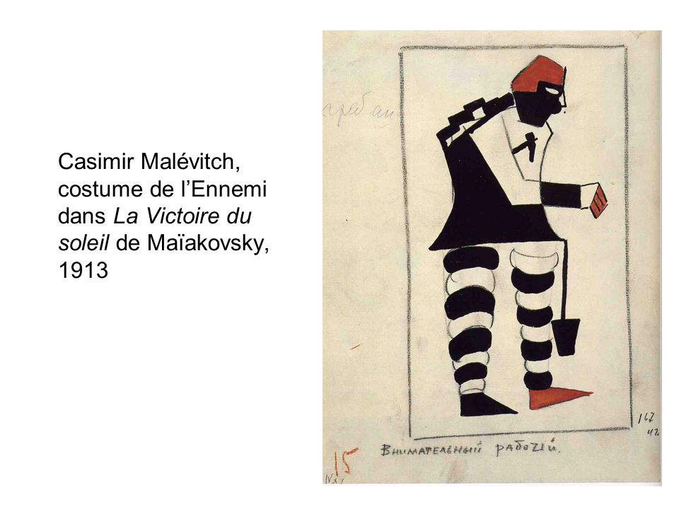 Casimir Malévitch, costume de l'Ennemi dans La Victoire du soleil de Maïakovsky, 1913