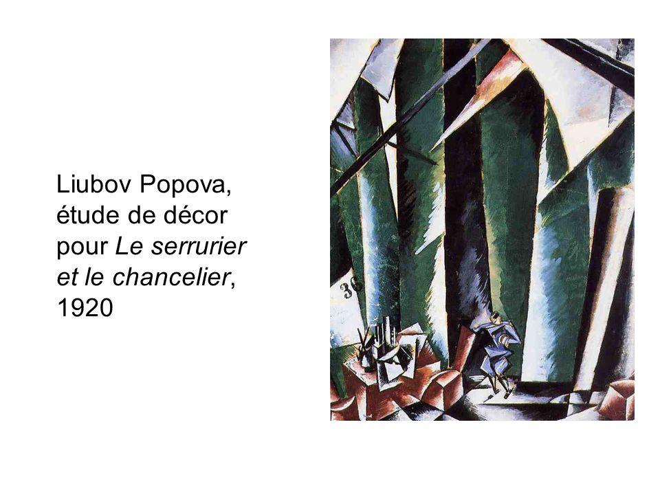 Liubov Popova, étude de décor pour Le serrurier et le chancelier, 1920