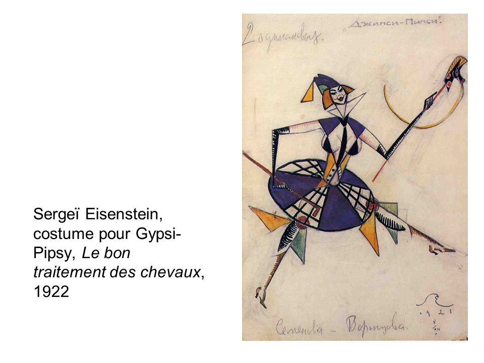 Sergeï Eisenstein, costume pour Gypsi-Pipsy, Le bon traitement des chevaux, 1922