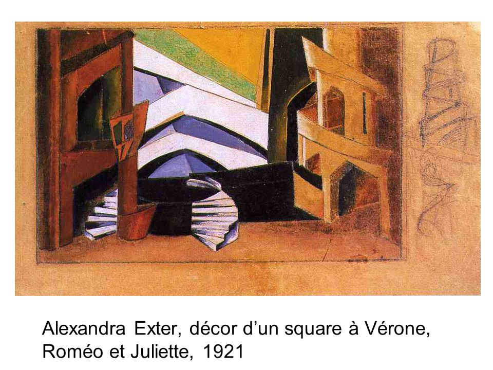 Alexandra Exter, décor d'un square à Vérone, Roméo et Juliette, 1921