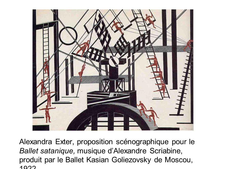 Alexandra Exter, proposition scénographique pour le Ballet satanique, musique d'Alexandre Scriabine, produit par le Ballet Kasian Goliezovsky de Moscou, 1922.