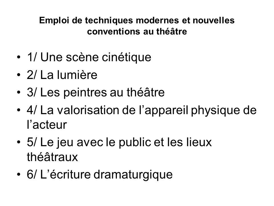 Emploi de techniques modernes et nouvelles conventions au théâtre