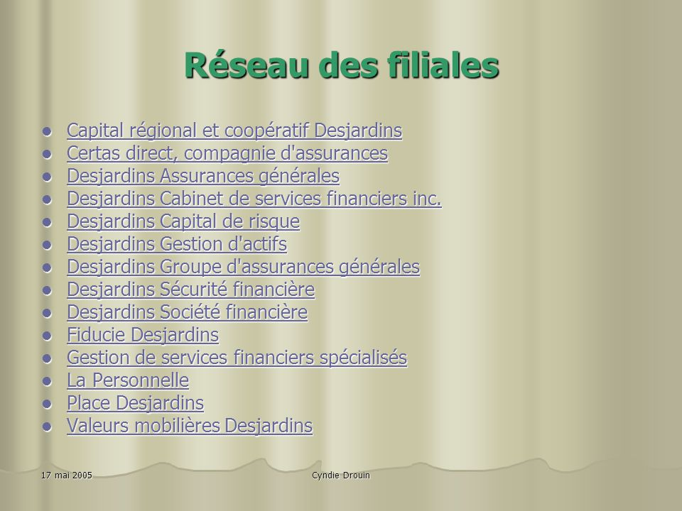 Réseau des filiales Capital régional et coopératif Desjardins