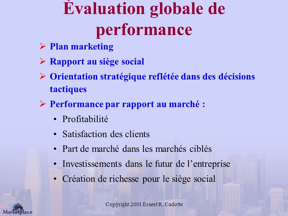 Évaluation globale de performance
