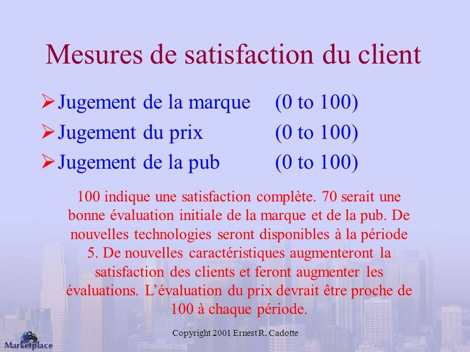 Mesures de satisfaction du client