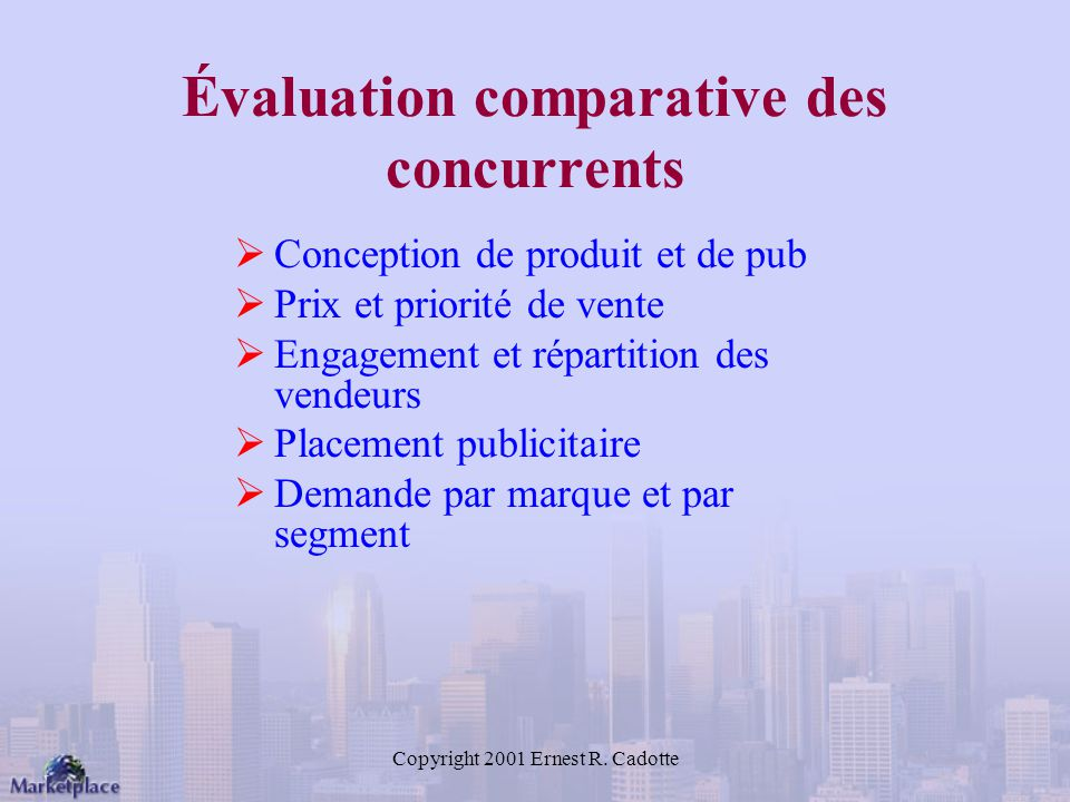 Évaluation comparative des concurrents