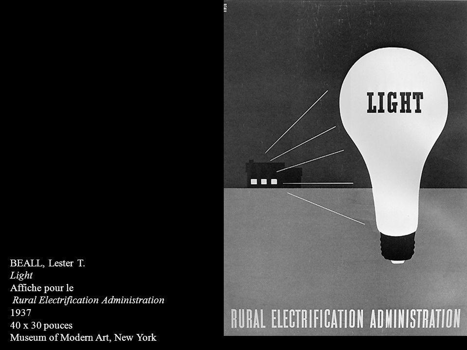BEALL, Lester T. Light. Affiche pour le. Rural Electrification Administration. 1937. 40 x 30 pouces.