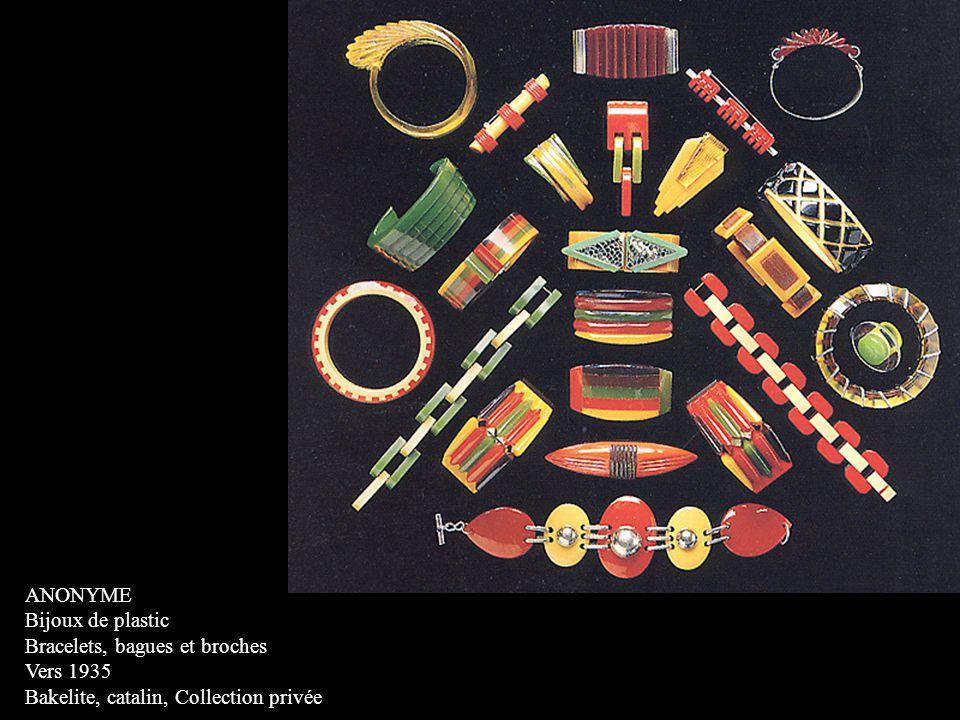 ANONYME Bijoux de plastic. Bracelets, bagues et broches.