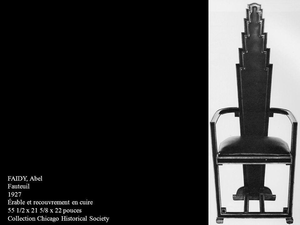 FAIDY, Abel Fauteuil. 1927. Érable et recouvrement en cuire.