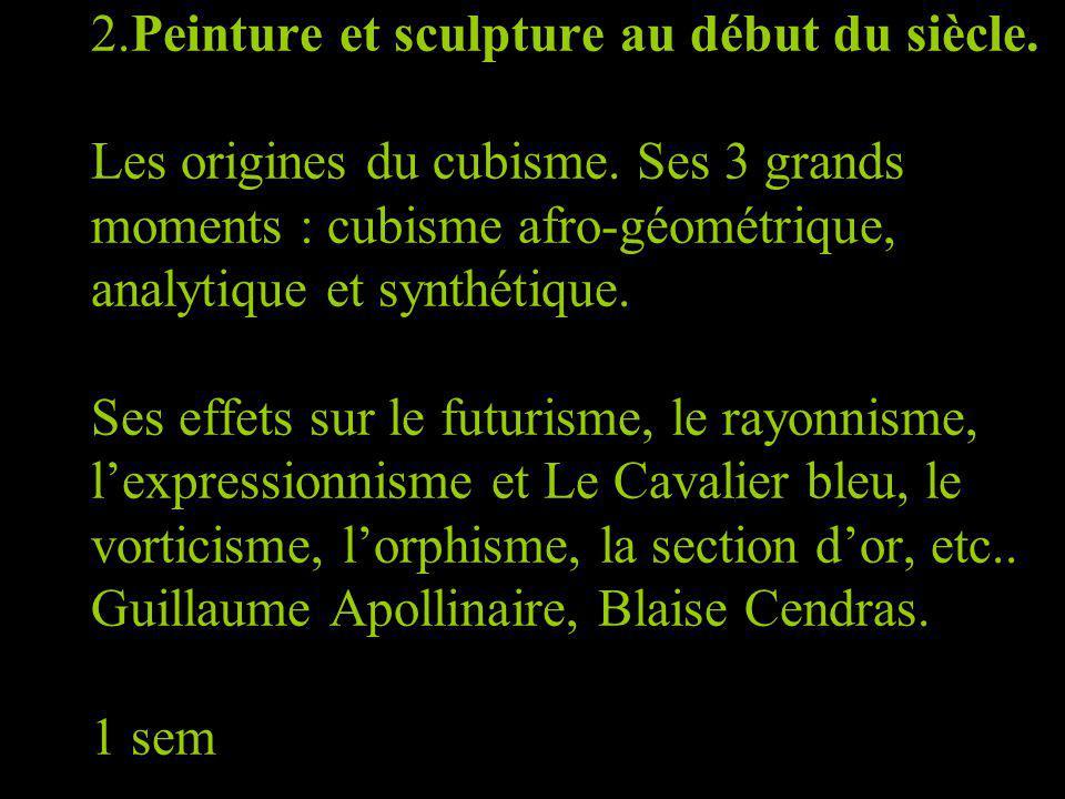 2. Peinture et sculpture au début du siècle. Les origines du cubisme