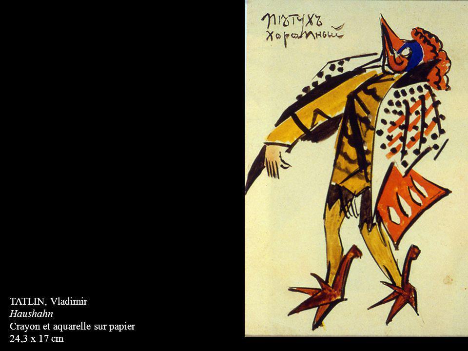TATLIN, Vladimir Haushahn Crayon et aquarelle sur papier 24,3 x 17 cm
