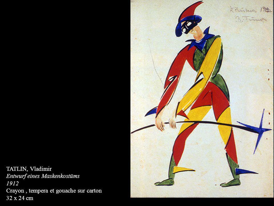 TATLIN, Vladimir Entwurf eines Maskenkostüms 1912 Crayon , tempera et gouache sur carton 32 x 24 cm