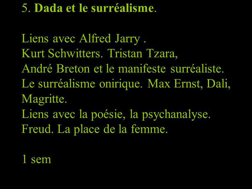 5. Dada et le surréalisme. Liens avec Alfred Jarry. Kurt Schwitters