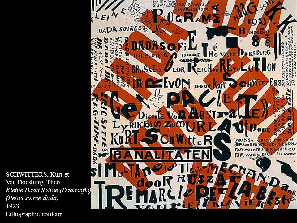 SCHWITTERS, Kurt et Van Doesburg, Theo. Kleine Dada Soirée (Dadasofie) (Petite soirée dada) 1923.