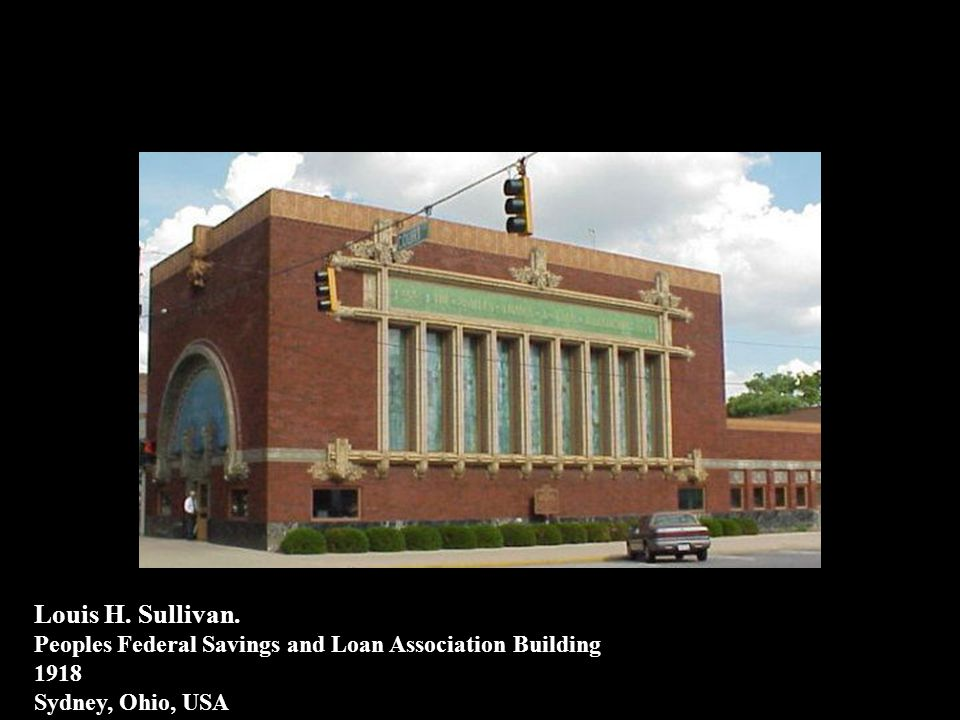 Louis H. Sullivan. Peoples Federal Savings and Loan Association Building 1918 Sydney, Ohio, USA