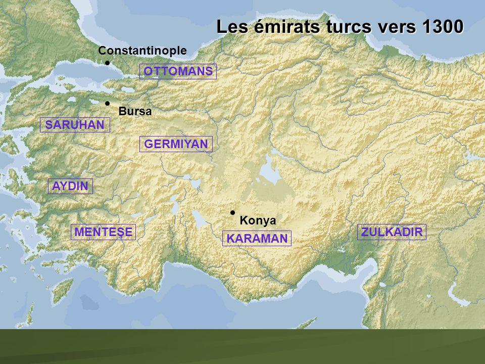 Les émirats turcs vers 1300 Constantinople OTTOMANS Bursa SARUHAN