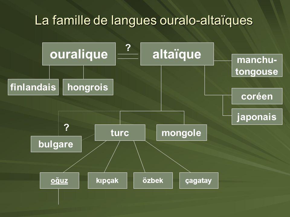La famille de langues ouralo-altaïques