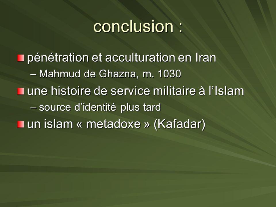 conclusion : pénétration et acculturation en Iran