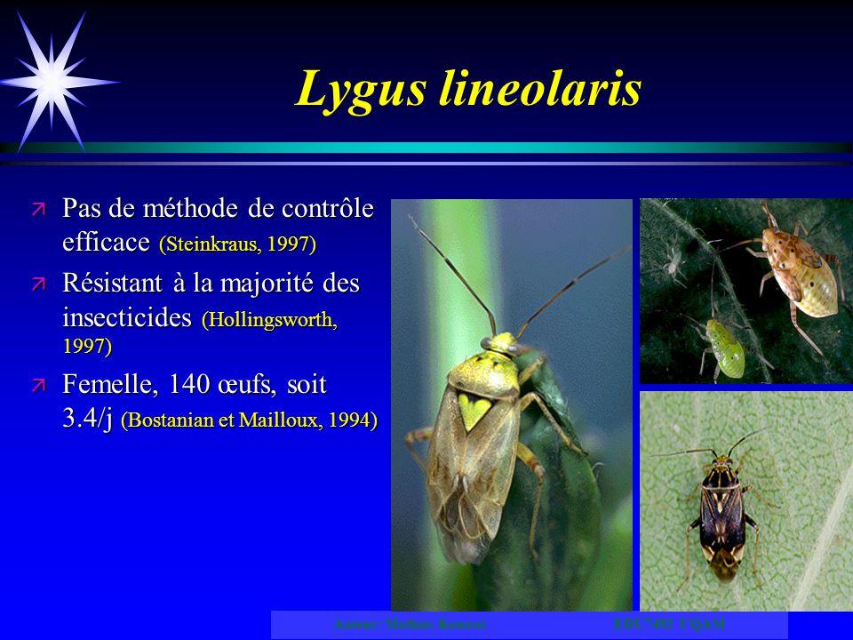 Lygus lineolaris Pas de méthode de contrôle efficace (Steinkraus, 1997) Résistant à la majorité des insecticides (Hollingsworth, 1997)