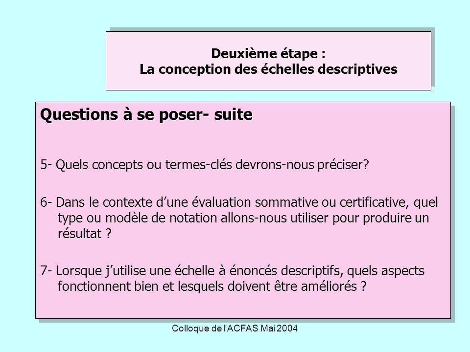 Deuxième étape : La conception des échelles descriptives