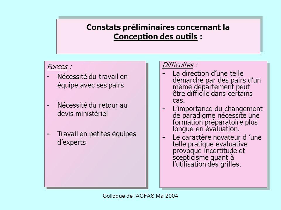 Constats préliminaires concernant la Conception des outils :